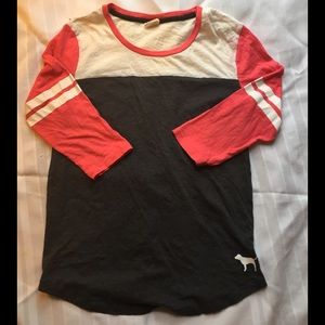 VS Pink crew neck 2/3 sleeve, size small